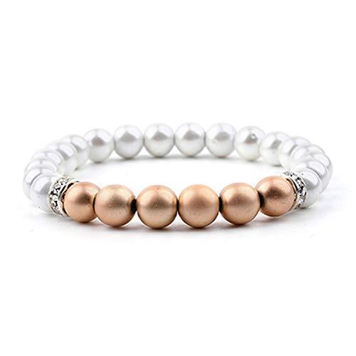 (Natural Stone Bracelet Women White Quartz Glass Beads Bracelet Jewelry,Gold-Color)
