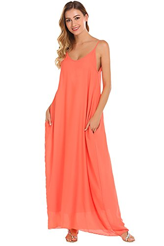 Qearal Maxi Chiffon Dress for Women Sleeveless Spaghetti Strap Dress (Orange Red, S) (Chiffon Dress Multi)