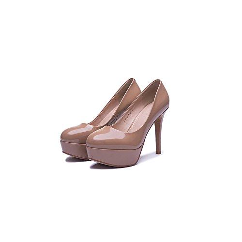 Schuhe Mit Nachtclub CN39 EU39 Wasserdichte Single Hohen Farbe Neue UK6 Mit Fein Absätzen Flachem XUERUI Braun Mit Runde größe Absätzen Mund Sexy Schuhe Hohen Schuhe qwax0BSZ8