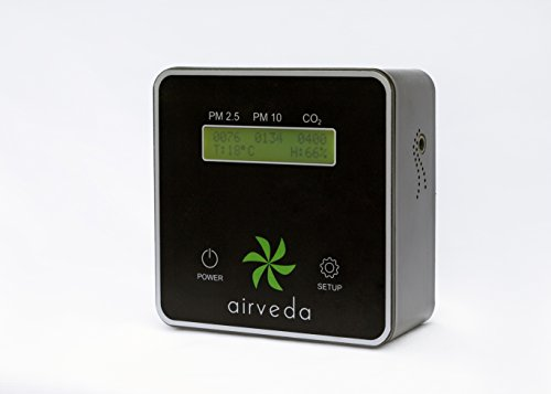 Airveda CO2, PM2.5, PM10, Temp, Humidity High Accuracy Smart Air Quality Monitor - Laser Sensor,...