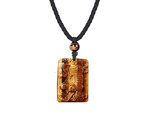 "Haskare Mens Stone Pendant Tiger Eye Chakra Healing Pendant Necklace Natural Stone Jewelry, Adjustable 0""-27"""