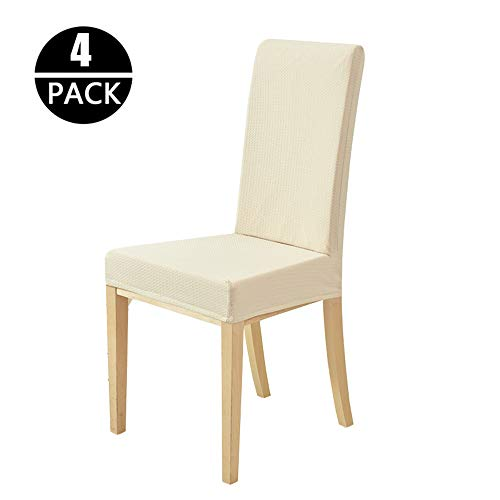(PHNAM Stretch Solid Waffle Chair Covers Waterproof Soft Seat Slipcovers for Dining Room Wedding Party (Beige))
