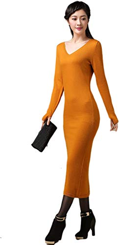 RanRui Womens Sweater Dress Vneck Solid Knit Cashmere Long Sleeve Ankle Length Dresses Spring Fall (Orange, L)