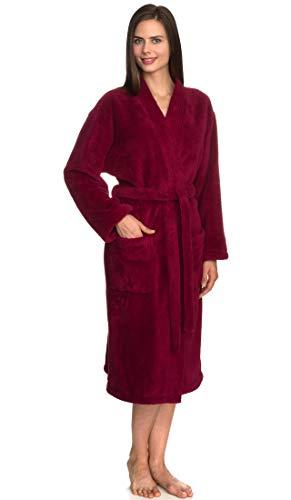 TowelSelections Women's Plush Robe Soft Fleece Kimono Bathrobe Medium/Large Beaujolais ()