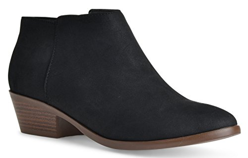 Casual Low LUSTHAVE Closed Riley Heel Round Chelsea Women's Toe Bootie Western Pu Cowgirl Black Ankle Toe P0wrPCzq