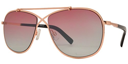 6a49fc14e34b Fashion Eyelinks - Fashion Flat Top Crossover Bridge Sunglasses with Flat  Lens (Gold Frame +