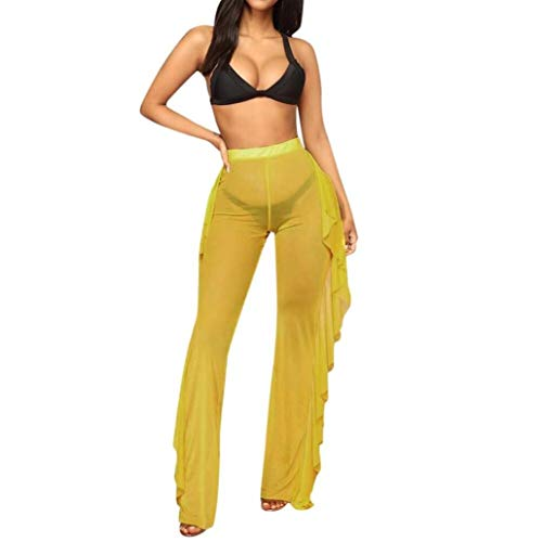Pantalone Donna Vita Pantalone Trasparenti Alta Dragon868 Volant Rosa Con OwEBpv