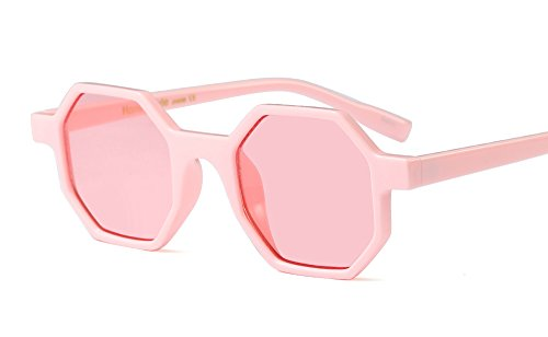 Freckles Mark Geometric Octangle Mod Vintage Retro Plastic Small Sunglasses (Pink, - Sunglasses Faded Days