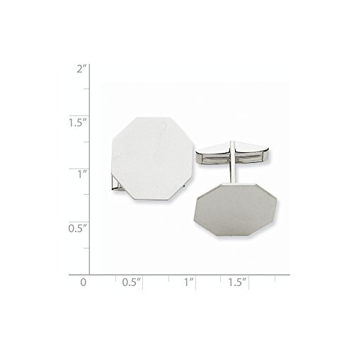 14K White Gold Octagon Cuff Links by CoutureJewelers (Image #1)