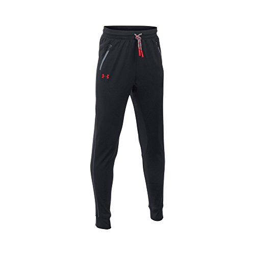 Under Armour Boys' Pennant Tapered Pant, Black/Red, Youth Small