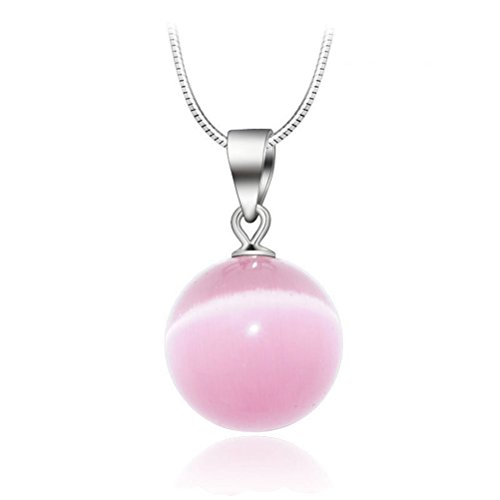 KOREA-JIAEN Pendant Necklace S925 Sterling Silver Plated Chain Necklace 10mm Pink Opal Cat's Eye Pendant Necklace(Pink Moonstone)