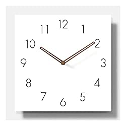 11.4 White Square Non Ticking Wooden Wall Clock Simple Modern Scandinivian Design (Numbers)