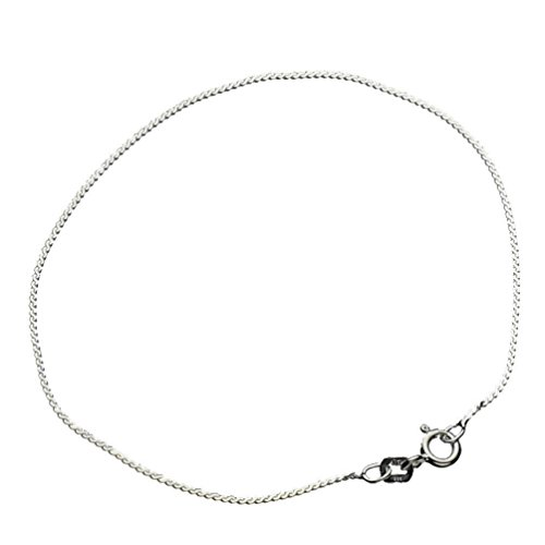 Sterling Silver Serpentine Nickel Free Chain Anklet Italy, 11