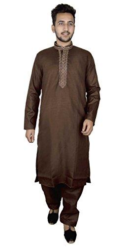 Mens Indian Soft Cotton Brown Kurta Matching Salwar Kameez Pajama