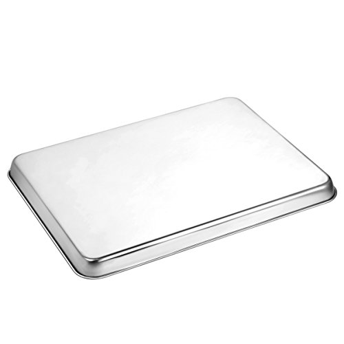 Baking Sheet Set of 2, HKJ Chef Stainless Steel Cookie Sheet Set 2 Pieces Toaster Oven Tray Pan Non Toxic ,Healthy  Easy Clean by HKJ Chef (Image #2)