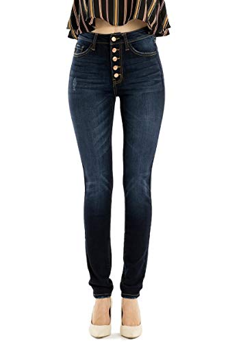 KAN CAN Jeans Leary-Lexy High-Rise Exposed Button Dark Wash Skinny Jeans KC7113SD (29)