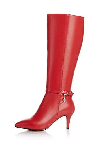 Nine Seven Genuine Leather Women's Pointed Toe Stiletto Heel Buckle Zip Knee High Handmade Boot (8, red) by Nine Seven (Image #1)'