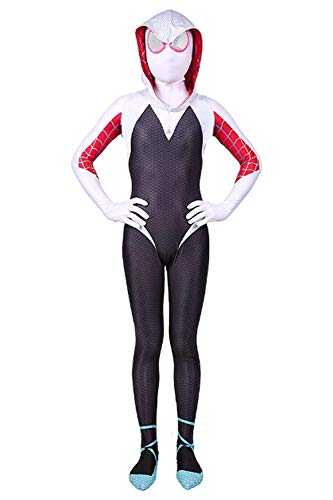 YERFONE Toddler Kids Spiderman Jumpsuit Bodysuit Kids and Adult Spider Tights Costume (White,9,10T)