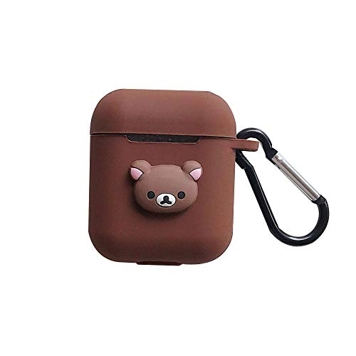 Brown Bear for Apple Airpods 1&2 Charging Case,Soft Silicone Cartoon Protective Accessories Cover Kits Skin with Keychains,Cute Funny Character kaCases for Air Pods Case Girls Kids Teens ()