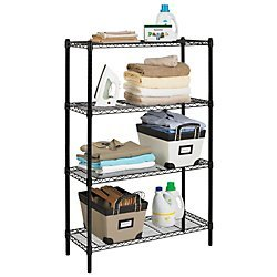 Realspace(R) Wire Shelving, 4 Shelves, 54in.H x 36in.W x 14in.D, Black