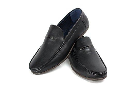 CABALLEROS Inteligente Negro Conducción CIERRES Mocasín SIN Zapatos rgWwqtra