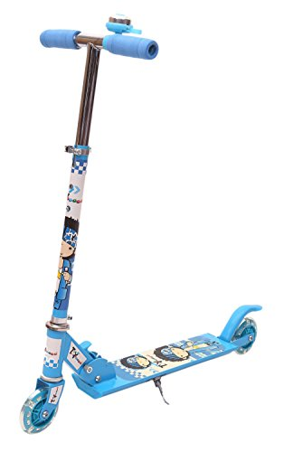 Toyhouse Two Wheeled Height Adjustable Scooter with Wheel Lights and Anti Slip Foot Grip, Blue