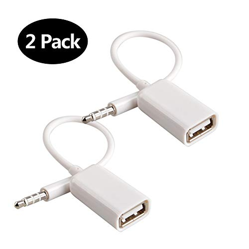 Male Stereo Jack - AUX to USB Adapter 3.5mm Male Aux Audio Jack Plug to USB 2.0 Female Converter Cord Converter Cable Only for Car Aux Port White 2PACK by Oxsubor(CAR Need Decode Function)