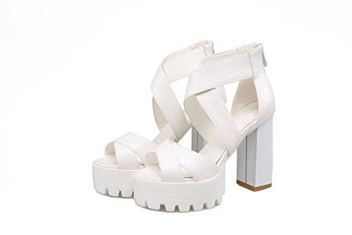 Høye Mykt Kvinners Hvite Glidelås Hæler Solid Toe Materiale Peep Allhqfashion Sandaler qCF1xwx