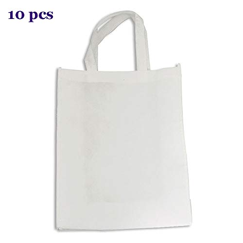 - CALCA 10pcs White Blank Sublimation Non-woven Shopping Bags DIY Tote Bags for Sublimation Heat Transfer Screen Printing Custom (7.9