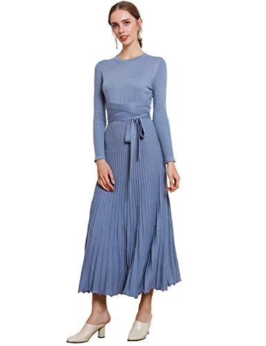 FINCATI Long Sweater Dress Spring Autumn Cashmere Belt Fitted Waist Big Swing Midi Dresses (Haze Blue, M)