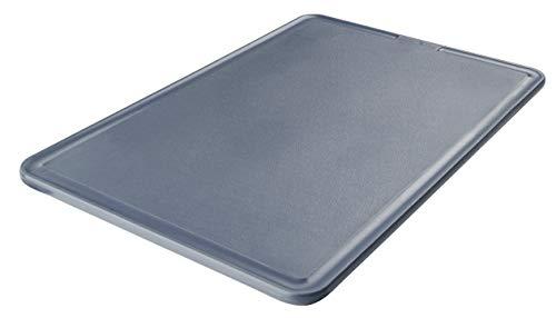 FACKELMANN Schneidbrett 36 x 24 cm Easyprepare, hochwertiges Küchenbrett aus Kunststoff, Schneidebrett mit Saftrille, eckiges Zubereitungsbrett, rutschfestes Tranchierbrett (Farbe: Blau/Grau)