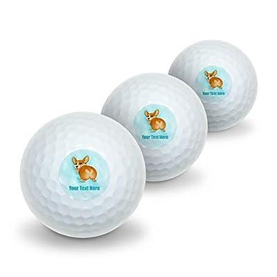 GRAPHICS & MORE Personalized Custom Corgi Butt 1 Line Novelty Golf Balls 3 Pack