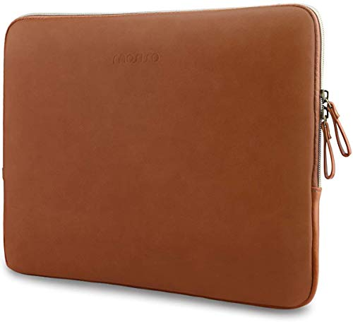 MOSISO Laptop Sleeve Compatible with 2019 MacBook Pro 16 inch with Touch ID A2141/15-15.6 inch MacBook Pro Retina 2012-2015/Surface Laptop, PU Leather Padded Bag Waterproof Case,Brown