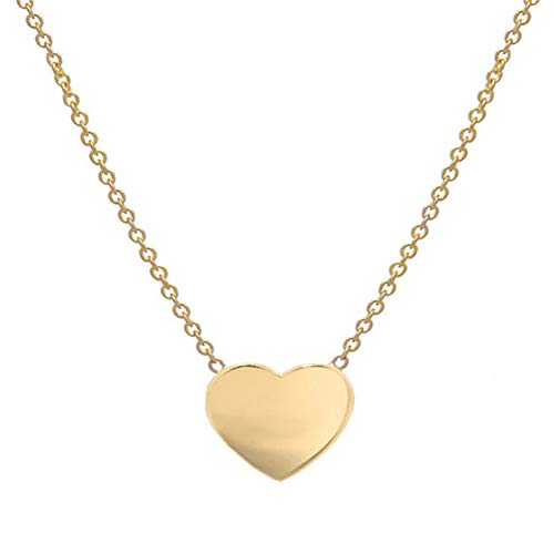 HYMAYX Cute Heart Collar Necklaces Gold Love Pendant Necklace Collier for Femme Jewelry Women