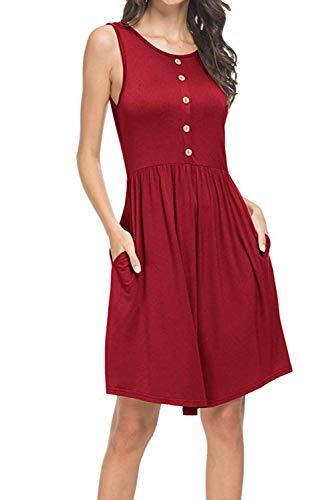 Donnalla Women Summer Sleeveless Sundress Casual Loose Swing Midi Dress Tank with Pockets(Wine Red,Size M) ()