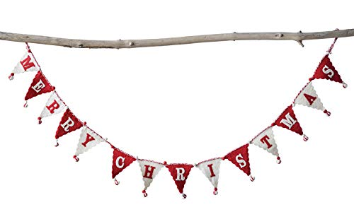 Creative Co-Op Cream & Red Banner Style Wool Felt Merry Christmas Poms Garland Multicolor