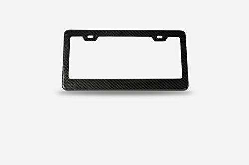 ICBEAMER Black Carbon Fiber License Plate Frame Tag Snap For All Vehicle Truck SUV Mini Van Front Rear [Pack of 1 pc]
