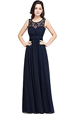 Babyonlinedress Sleeveless Slim fit Lace chiffon Long bridesmaid dress