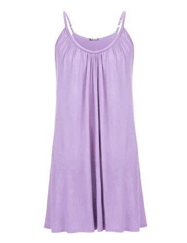 IN'VOLAND Womens Plus Size Nightgown Sleeveless Sleepwear Summer Cotton Sleepshirts Slip Night Dress XL-5XL Lilac