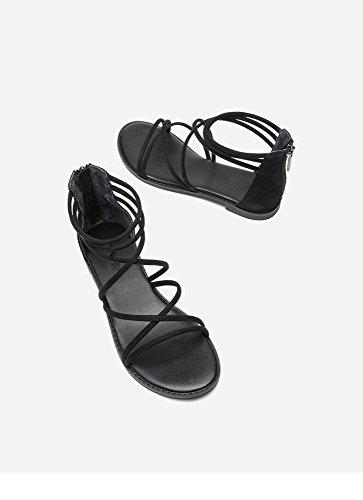 Mujer Planas Tacones DHG de Sandalias Altos Sandalias de Punta Ocasionales Moda Dulces Color Tacón de de Zapatillas de Sandalias Negro 34 Sólido de Verano bajo YvYq1xf