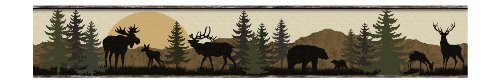 York Wallcoverings Lake Forest Lodge LM7946BD Scenic Silhouette Border, Browns