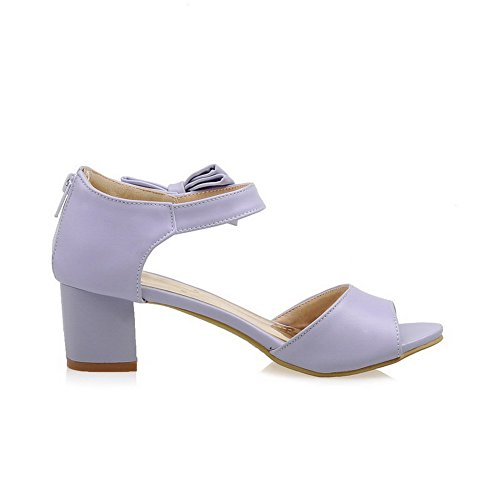 VogueZone009 Women's Kitten-Heels Soft Material Solid Zipper Peep Toe Sandals Purple Sdwcw