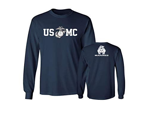 (Lucky Ride Marine Corps Bull Dog Front and Back USMC Men's T-Shirt Longsleeve, Navy,)