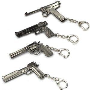 Mallofusa Pack of 4 Pcs of Mini Metal Shooting Gun Model Keychain Pendant Key Ring Sniper Rifle Pendant (502#003#747#664)
