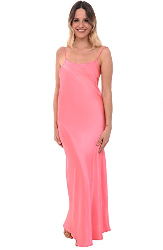 Del Rossa Women's Satin Nightgown, Full Length Camisole Chemise, Small Coral (A0778CRLSM)