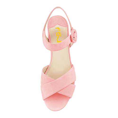 Fsj Donne Estate Cinturino Alla Caviglia Sandali Tacco Grosso Peep Toe Piattaforma Scarpe Comode Dimensioni 4-15 Us Rosa