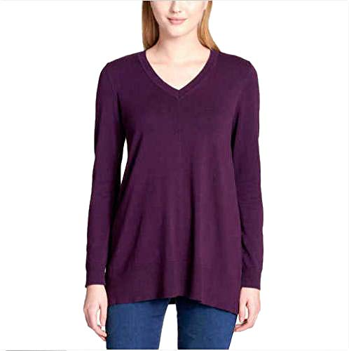 (DKNY Jeans Women's V-Neck Sweater, Aubergine, X-Large)