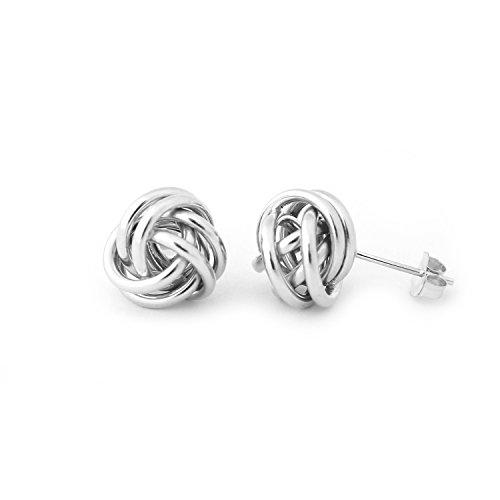 14k White Gold Love Knot Stud Earrings - ()