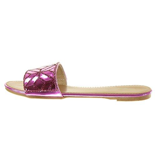 Tacco Pattino Strass Sandalo Blocco 1 Centimetro Diamante Fantasia Donna Angkorly Fucsia Modo Di aS6Eq