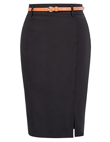 Kate Kasin Slim Fitted Elastic Pencil Skirt Wear to Work Knee Length Size L Black KK856-1 ()
